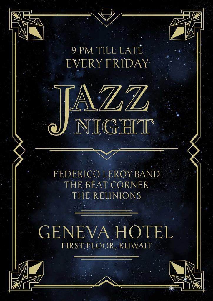 Jazz Night Invitation on Night Sky — Maak een ontwerp