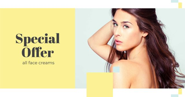 Special Beauty Offer with Young Attractive Girl Facebook AD Design Template