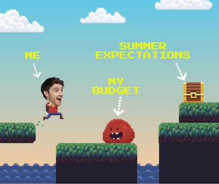 Ontwerpsjabloon van Facebook van Funny Joke with Man in Virtual Game