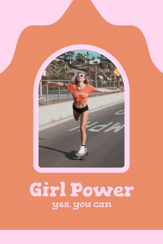 Platilla de diseño Inspirational Phrase with Girl on Skateboard Pinterest