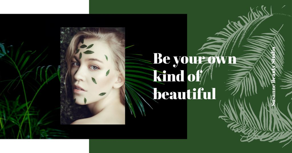 Young girl with leaves on face — Modelo de projeto