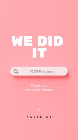 Thank You message to followers Instagram Story Design Template