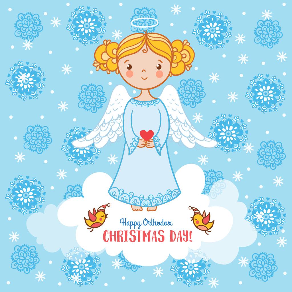 Happy Christmas with Cute Angel Girl — Crear un diseño