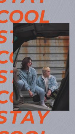 Ontwerpsjabloon van TikTok Video van Stylish Man and Woman posing in Urban Space