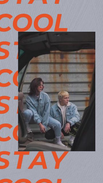 Stylish Man and Woman posing in Urban Space TikTok Video – шаблон для дизайну