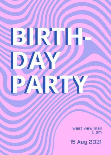 Birthday Party Announcement With Dizzy Pattern