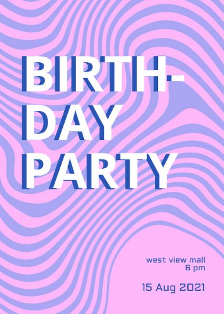 Birthday Party Announcement with Dizzy Pattern Invitation Design Template