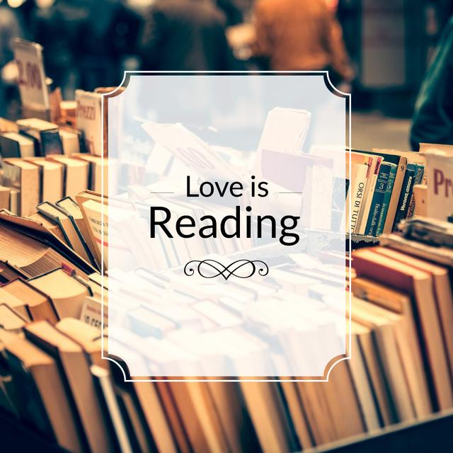 Quote about reading with Bookstore Instagram Modelo de Design