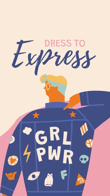 Girl Power bright Inspiration Instagram Story – шаблон для дизайну
