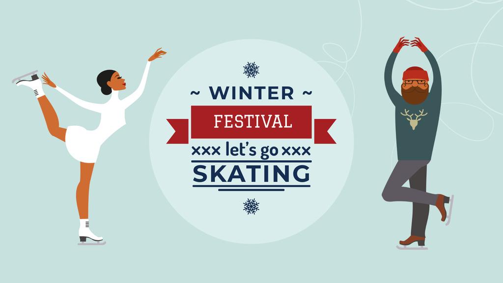 Modèle de visuel People at Winter Skating Festival - FB event cover