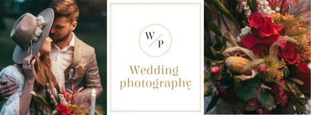 Wedding Photography Offer with Romantic Couple Facebook coverデザインテンプレート
