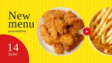 Fast food menu offer nuggets and fries FB event coverデザインテンプレート