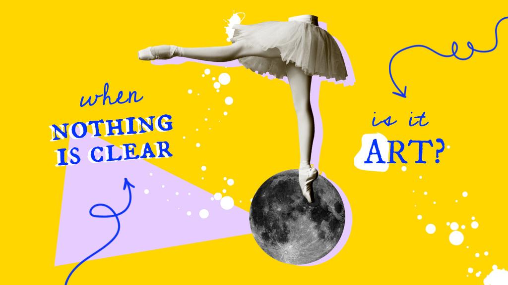Funny Illustration with Ballerina's Legs on the Moon Youtube Thumbnail Design Template