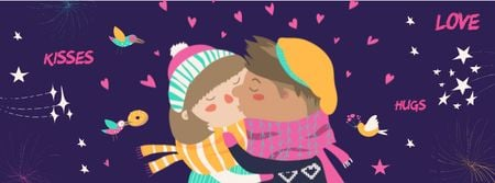 Plantilla de diseño de Valentine's Day Greeting with kissing Couple Facebook cover