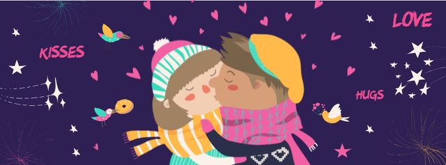 Valentine's Day Greeting with kissing Couple Facebook cover – шаблон для дизайна