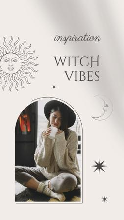 Halloween Witchcraft Inspiration with Girl in Hat Instagram Story – шаблон для дизайна