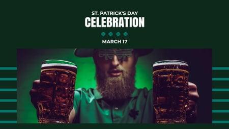 Plantilla de diseño de St.Patrick's Day Celebration with Man holding Beer FB event cover