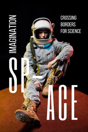Ontwerpsjabloon van Pinterest van Space Exhibition with Astronaut Sketch in Orange