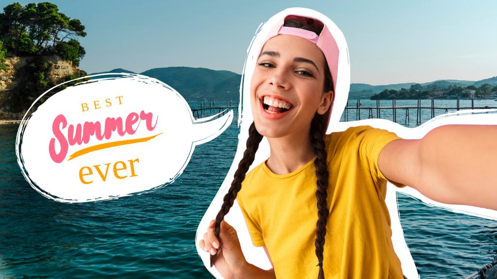 Plantilla de diseño de Summer Travelling Inspiration with Cute Young Girl Youtube Thumbnail