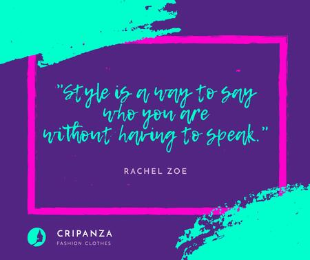 Fashion Quote in Geometric Frame in Blue Facebook Modelo de Design