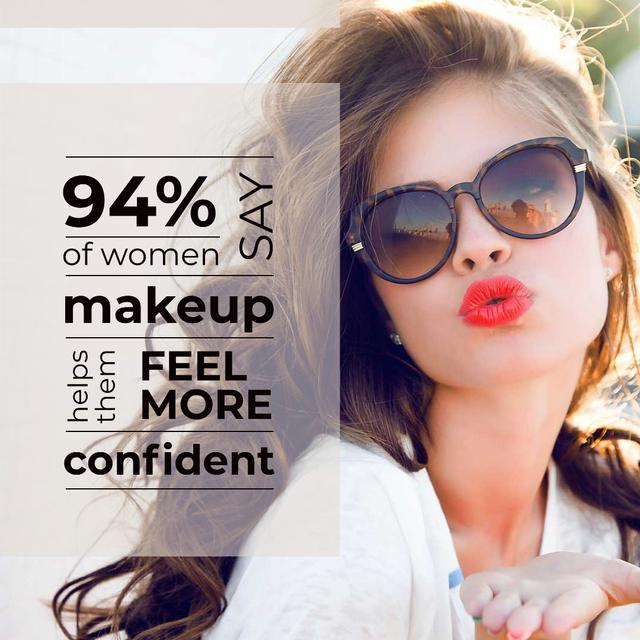 Designvorlage Beautiful young Woman in Sunglasses für Instagram