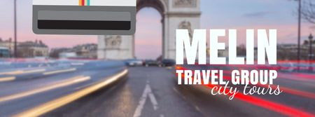 Tour Invitation with Paris Arc de Triomphe Facebook Video cover – шаблон для дизайну