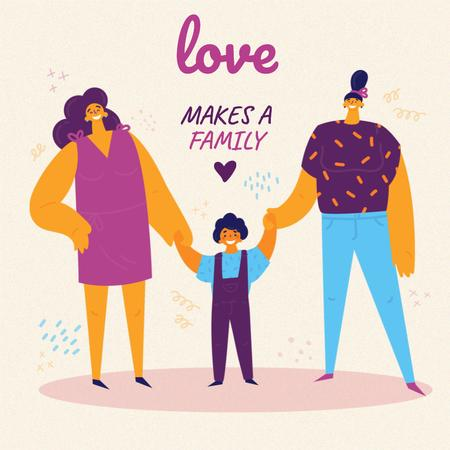 Family Day Inspiration with LGBT Parents and Child Instagramデザインテンプレート