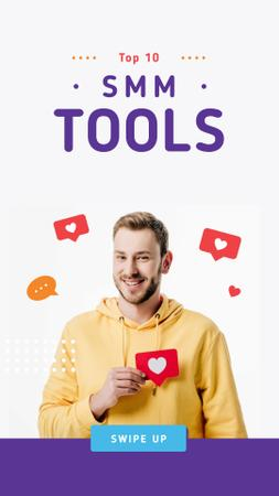 SMM tools Ad with Smiling Blogger Instagram Storyデザインテンプレート