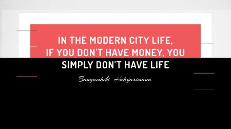 Citation about money in modern City life Titleデザインテンプレート