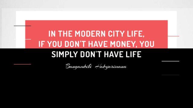 Ontwerpsjabloon van Title van Citation about money in modern City life