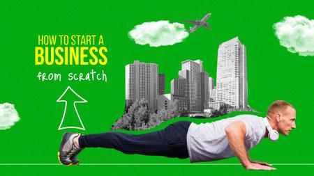 Business Tips with Businessman Youtube Thumbnail Modelo de Design