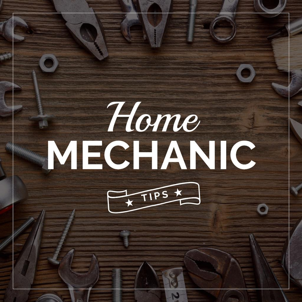 Home mechanic tips with Tools on Table — Crear un diseño