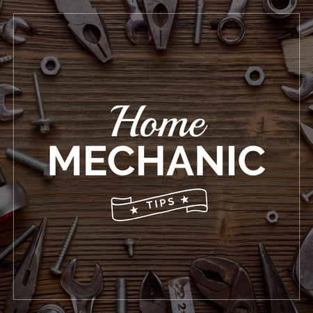 Home mechanic tips with Tools on Table Instagram Tasarım Şablonu