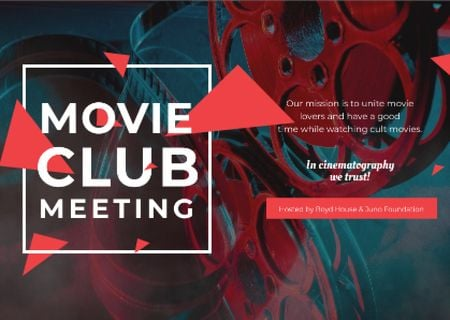 Movie club meeting Invitation Card Tasarım Şablonu