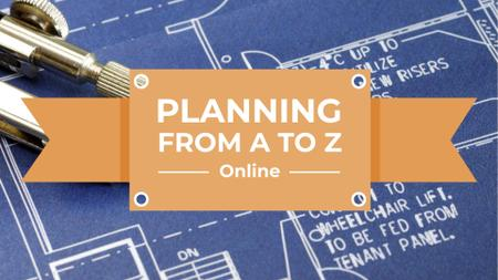 Plantilla de diseño de Online Lecture with House Blueprints FB event cover
