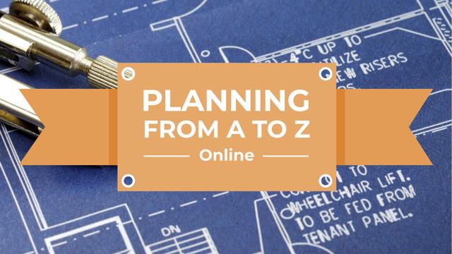 Modèle de visuel Online Lecture with House Blueprints - FB event cover