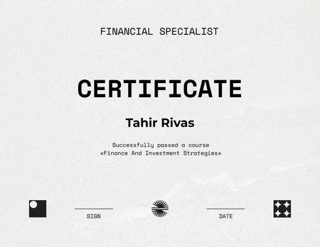 Financial Specialist graduation recognition Certificate Πρότυπο σχεδίασης