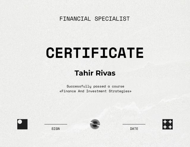 Financial Specialist graduation recognition Certificate Modelo de Design