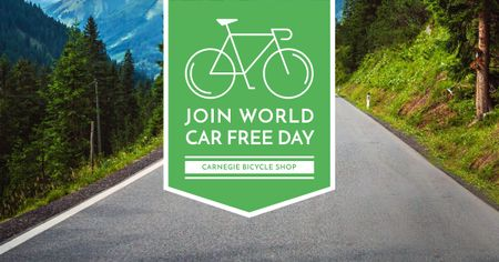 Car free day Announcement with Bicycle Facebook ADデザインテンプレート