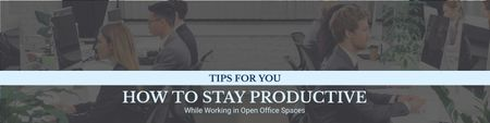 Designvorlage Productivity Tips with Colleagues Working in Office für Twitter