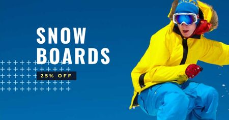 Snow Board Store Offer with Snowboarder Facebook AD Design Template