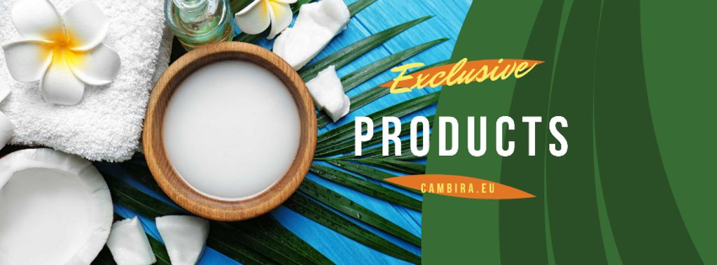Natural Products Offer with green leaves and Flower — Crea un design