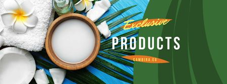 Ontwerpsjabloon van Facebook cover van Natural Products Offer with green leaves and Flower