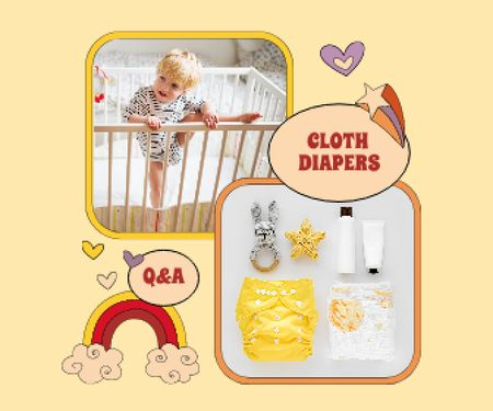 Cloth Diapers Sale Offer with Cute Kid in Cot Large Rectangle – шаблон для дизайну