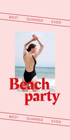 Designvorlage Summer Beach Party Announcement with Woman in Swimsuit für Graphic