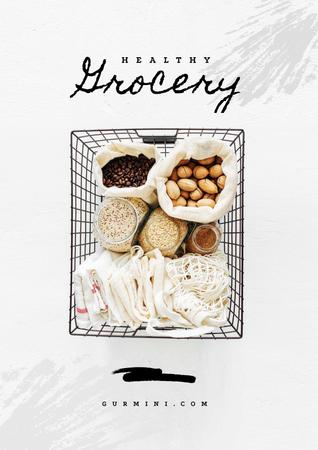 Healthy Grocery in Shopping Basket Poster Tasarım Şablonu