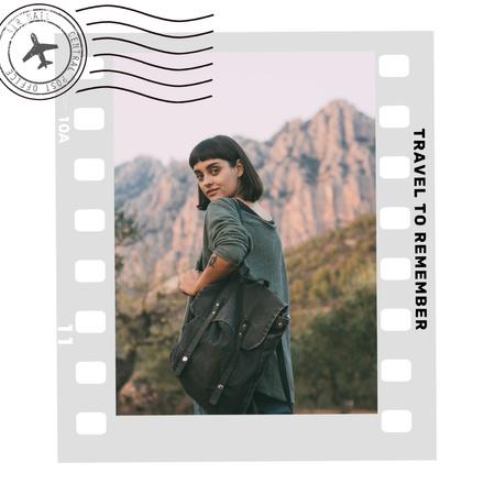 Designvorlage Travel inspiration with Girl in Mountains für Instagram