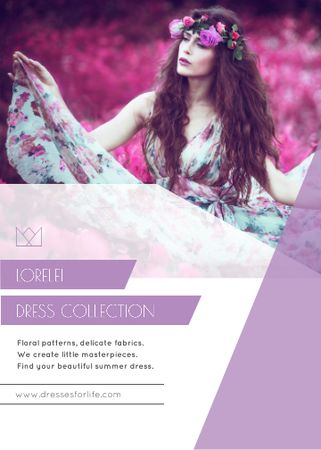 Fashion Ad with Woman in Floral Dress Flayer – шаблон для дизайна