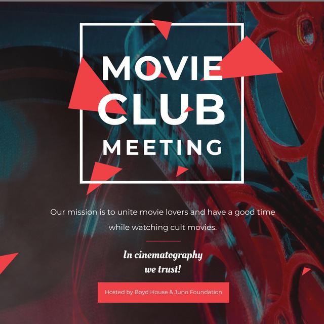 Movie Club Meeting Vintage Projector Instagram AD Modelo de Design