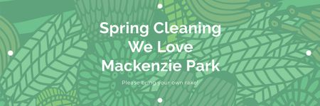 Ontwerpsjabloon van Twitter van Spring Cleaning Event Invitation Green Floral Texture